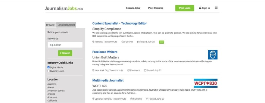 JournalismJobs.com website