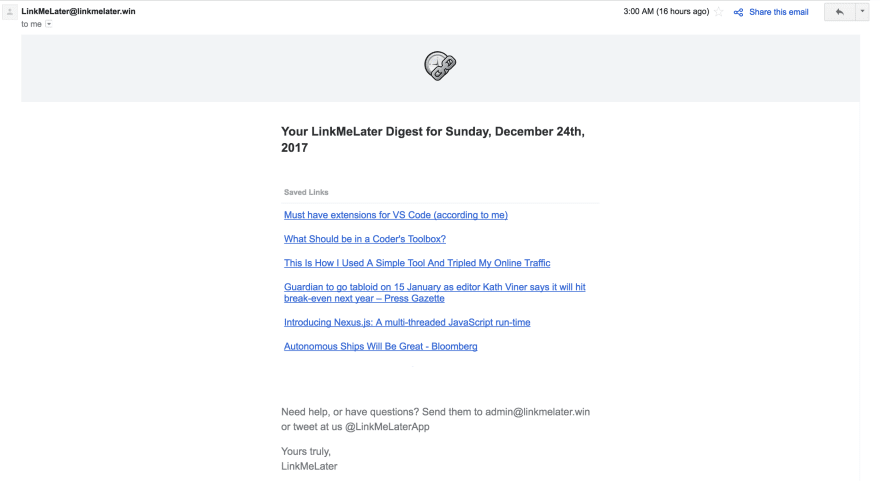 The email you'll get!