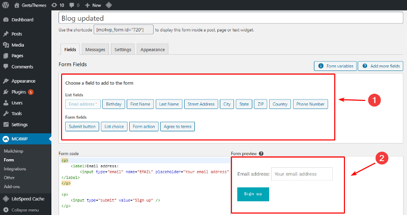 Select the fields and forms you want to include by MailChimp.