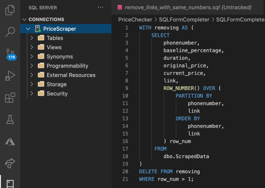 A database connected in VSCode
