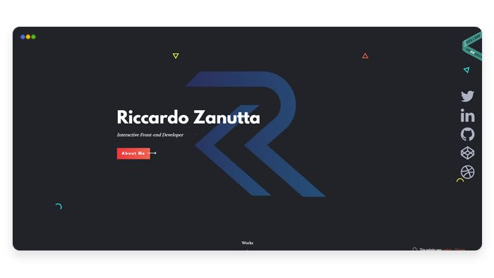 screenshot depicting the portfolio of Riccardo Zanutta