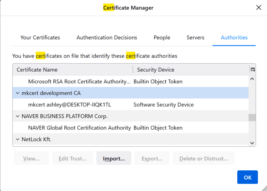Firefox certificates manager