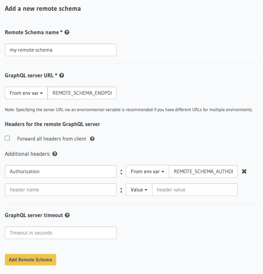 Configure Remote Schema URLs and Headers with Env
