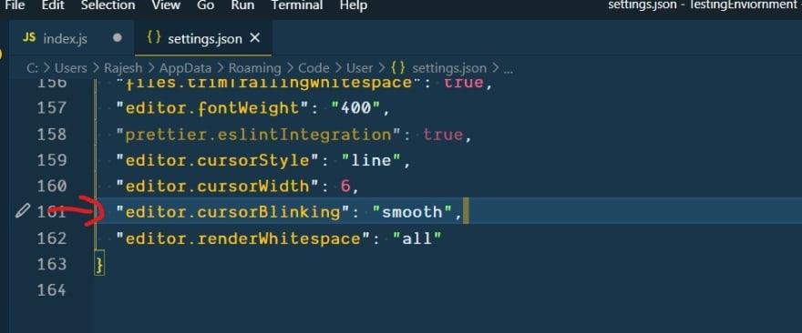 Alt vs code editor cursor setting json file screenshot