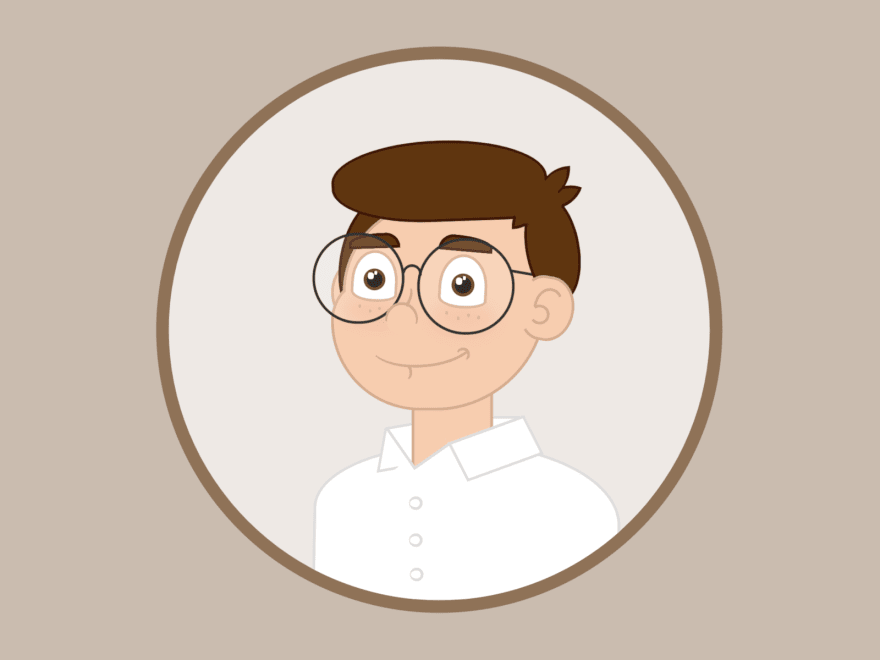 Cartoon of a person with glasses smiling