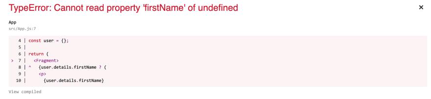 Screenshot of optional chaining error