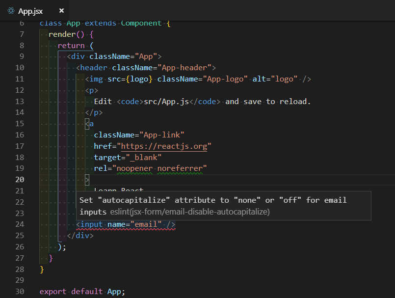 ESLint Plugin jsx-form In Action on VS Code