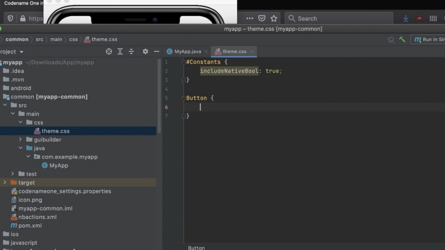 theme.css enables styling the entire UI on the fly