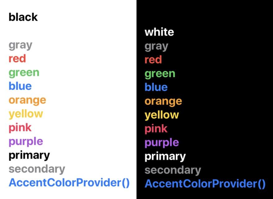 Color previews