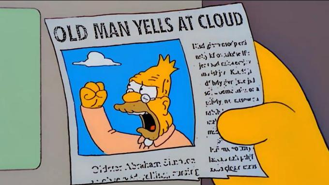 A newspaper clipping of Grandpa Simpson angrily shaking his fist and shouting at a cloud. Season 13, Episode 13 of The Simpsons.