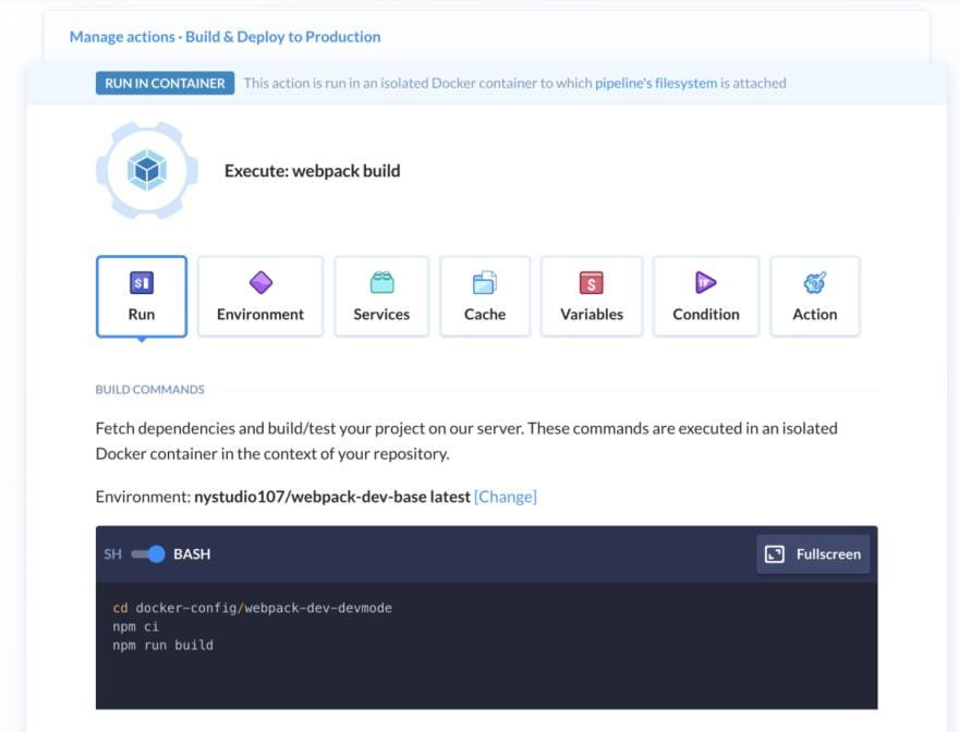 Atomic deployment buddy step webpack script