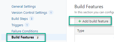 TeamCity build menu showing the option to add a build feature