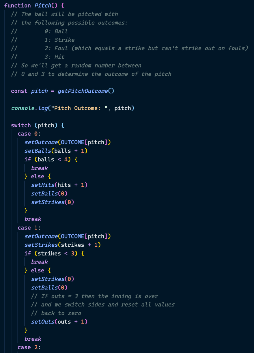 A code file showing a switch statement