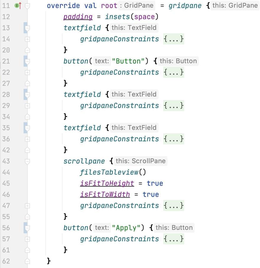 Screenshot of IntelliJ IDEA folding feature
