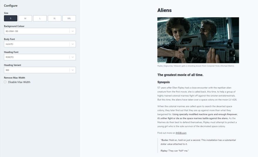 Tailwind typography website