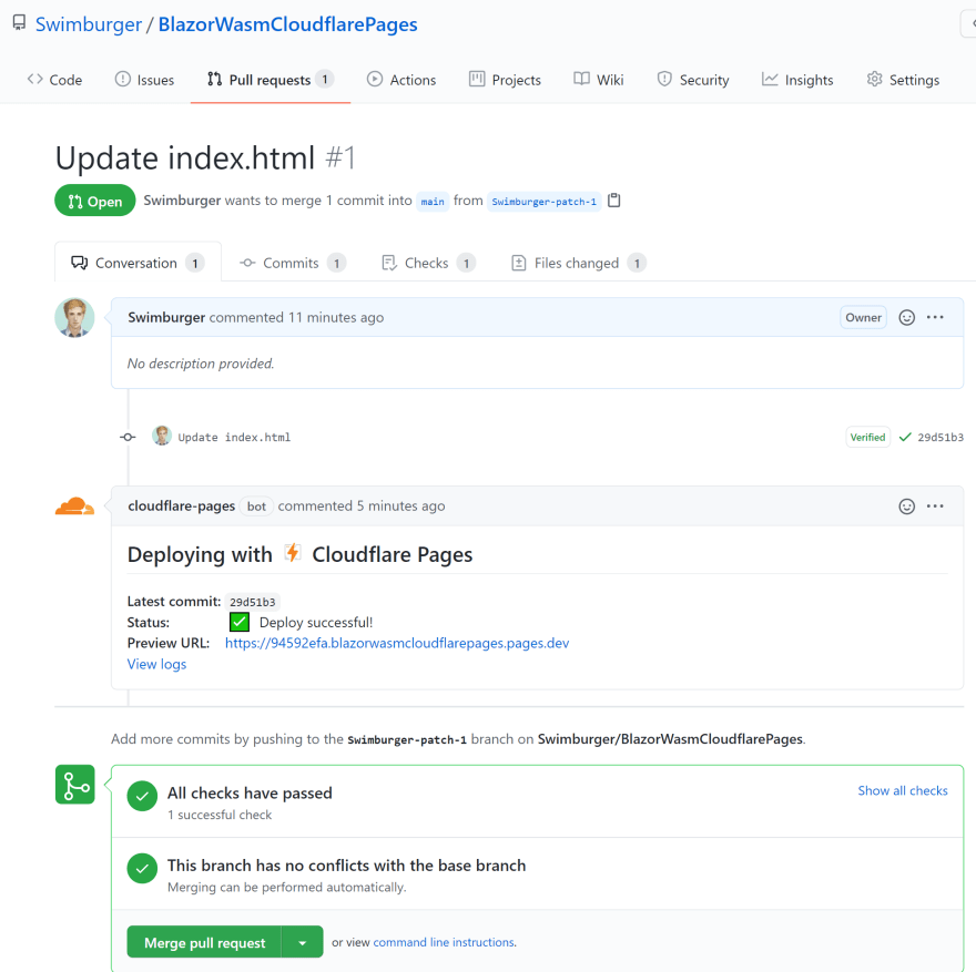 Screenshot of Pull Request where Cloudflare Pages has left a comment after finishing the build & deployment