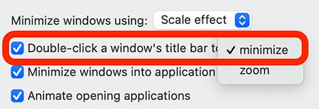 double-click minimize