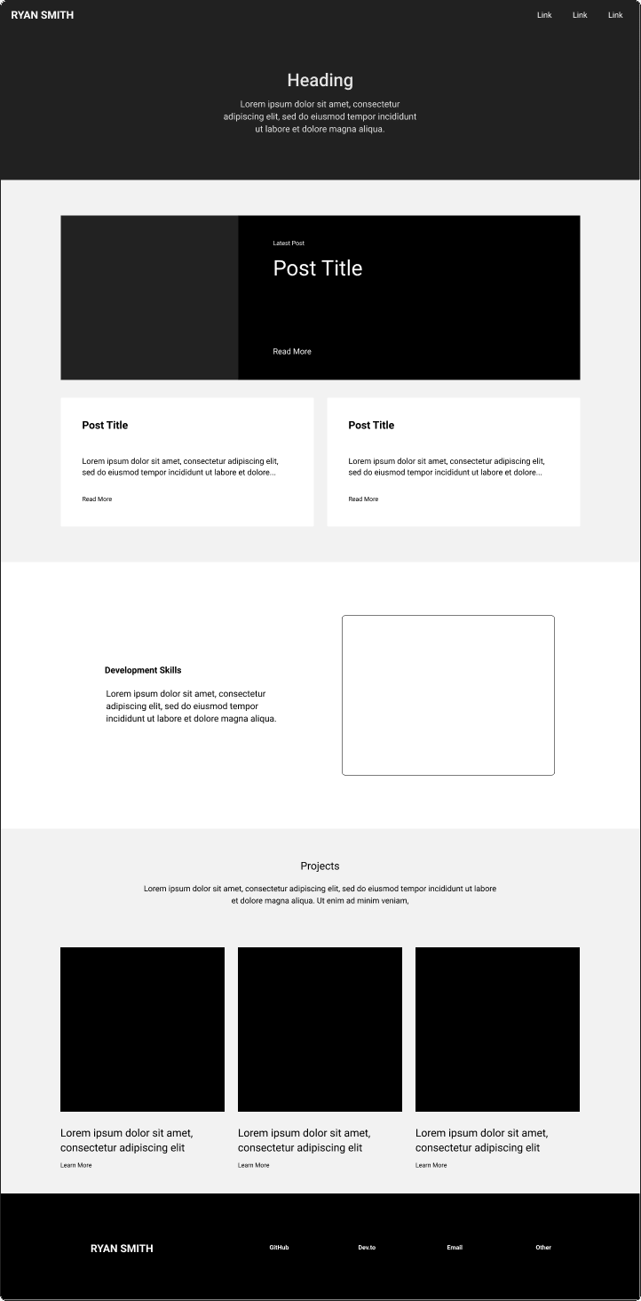 Wireframe graphic of a website