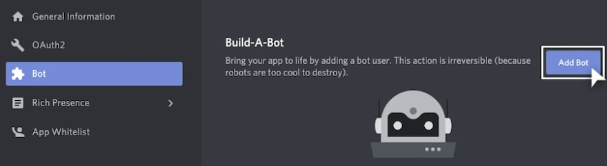 Bot Tab and Add Bot Screenshot