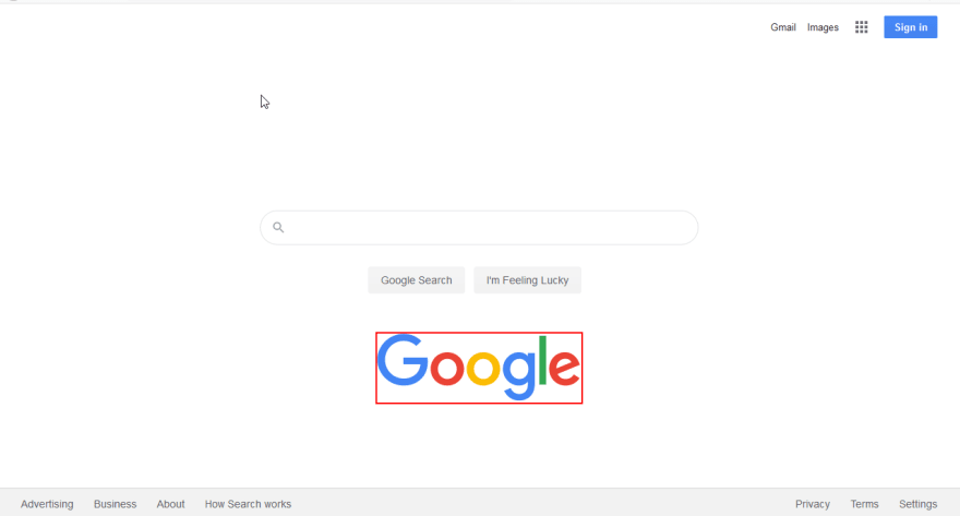 Google's Home page with the logo moved below the search box