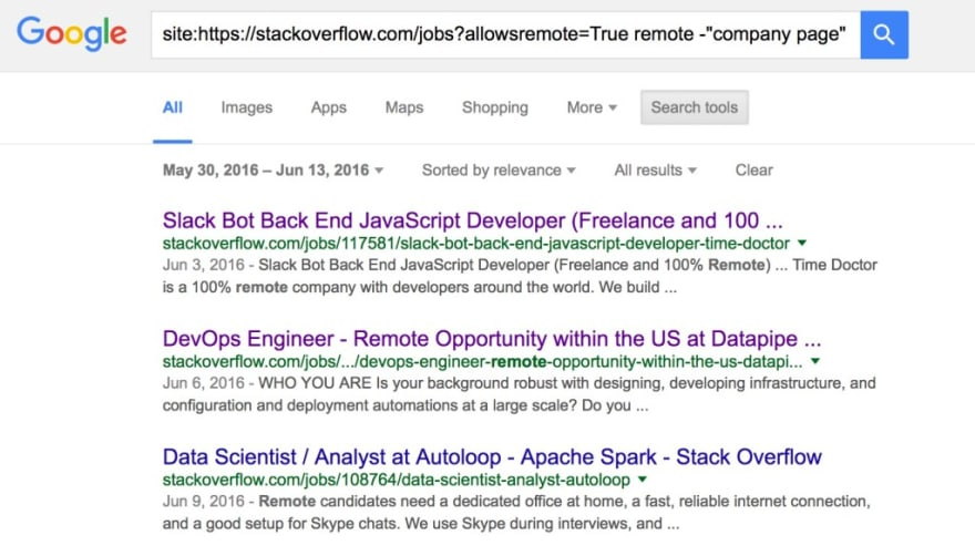 Stack Overflow Remote Developer Jobs