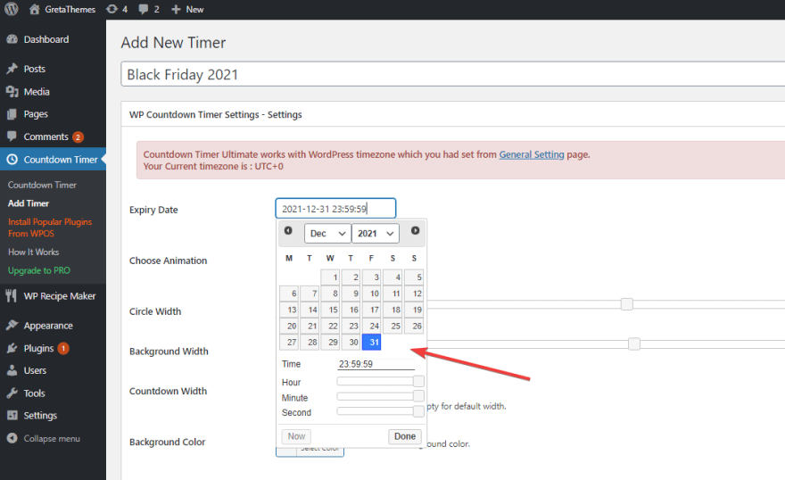 Configure the timer to countdown to the exact time you want