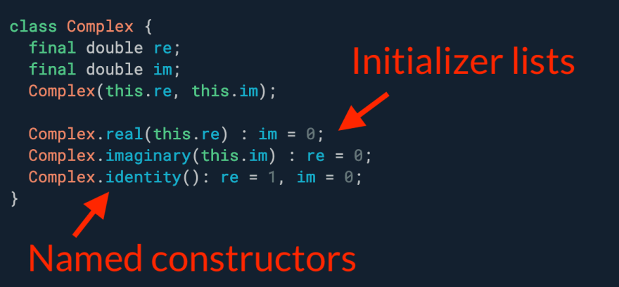 One constructor is not enough? Use named constructors and initializer lists for more ergonomic APIs.