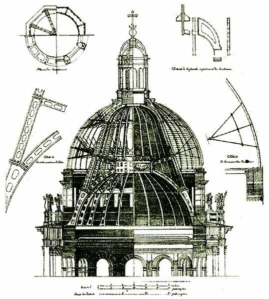 Old ink drawing of blueprints for the construction of the towers of the cathedral in Cologne, Germany