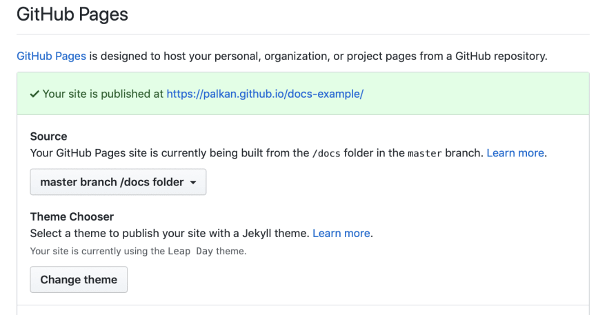GitHub Pages settings