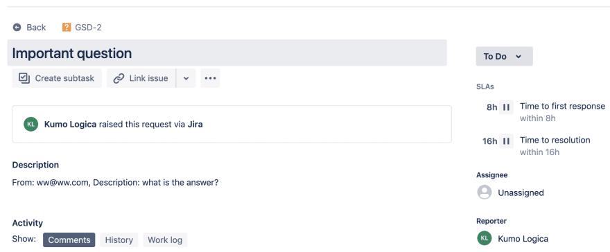 Jira issue created