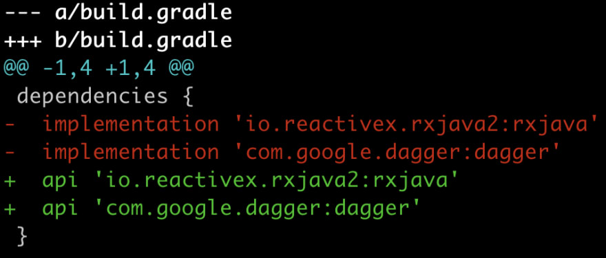 a git diff showing a change from implementation to api for RxJava and Dagger2