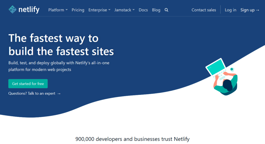Netlify homepage with JavaScript disabled