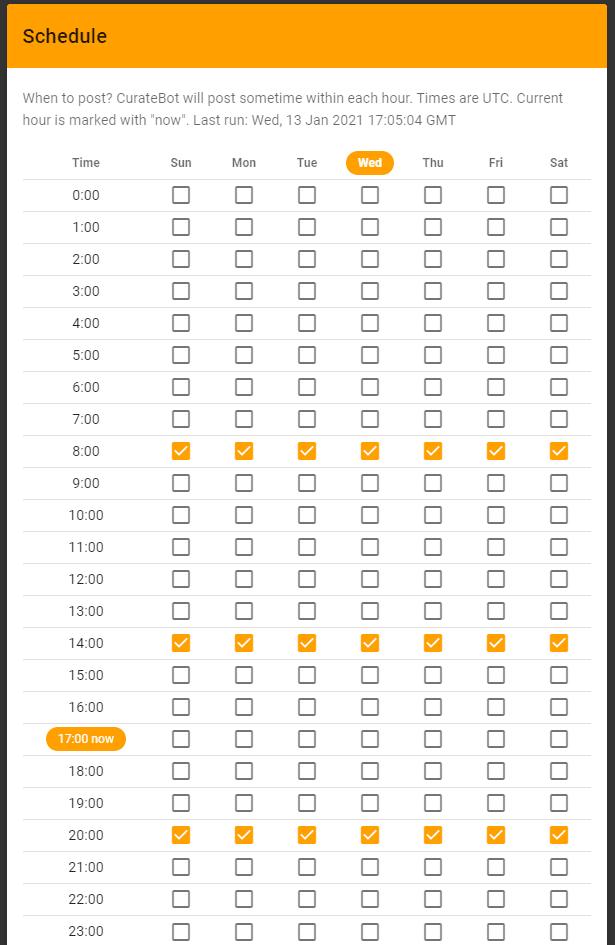 CurateBot Schedule Tweets