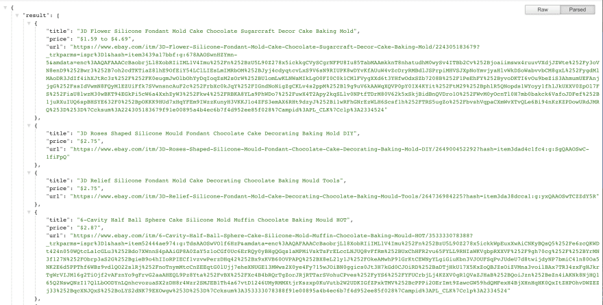 E-Commerce API response