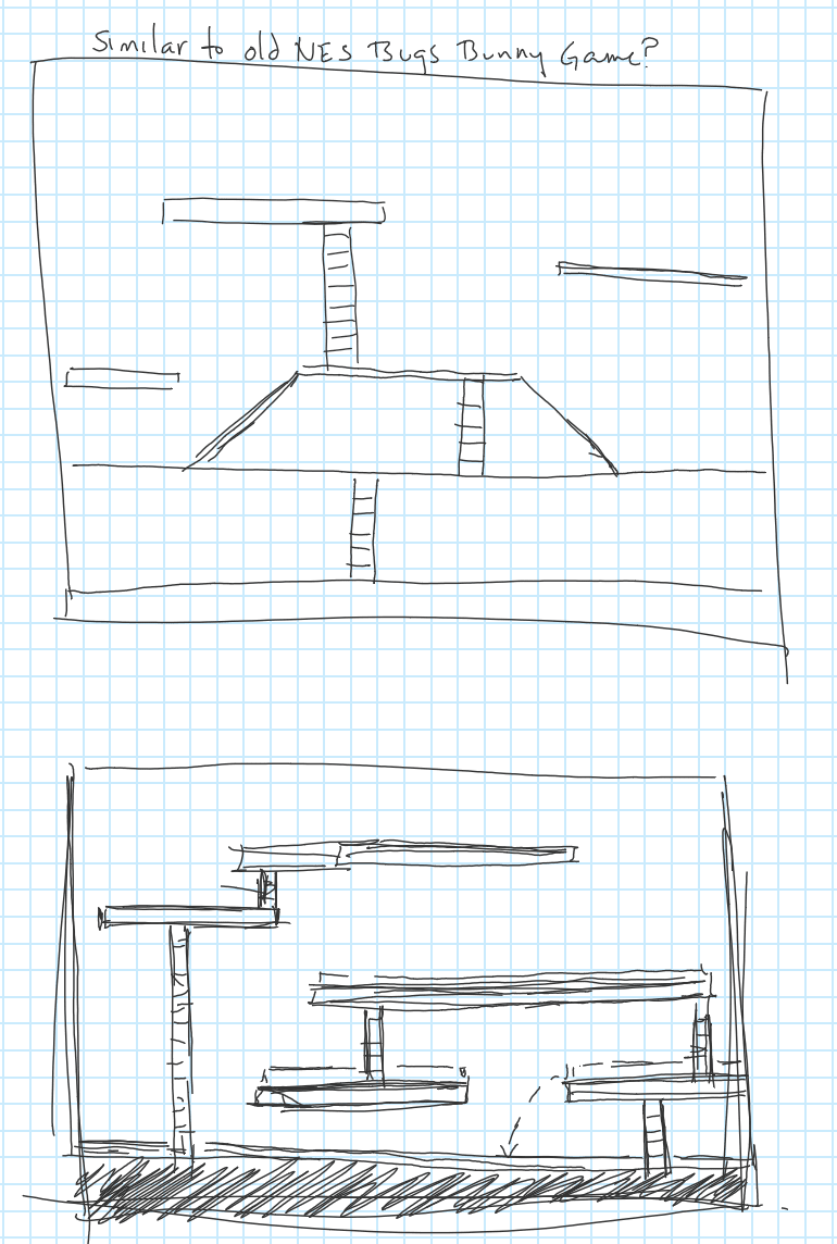thumbnail sketches of game level similar to Bugs Bunny Crazy Castle