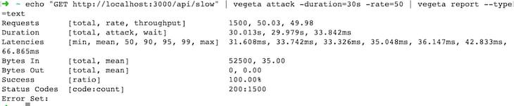 Screenshot of Vegeta test with better performance