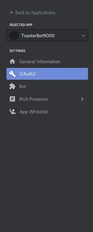 menu oauth2 na barra lateral esquerda