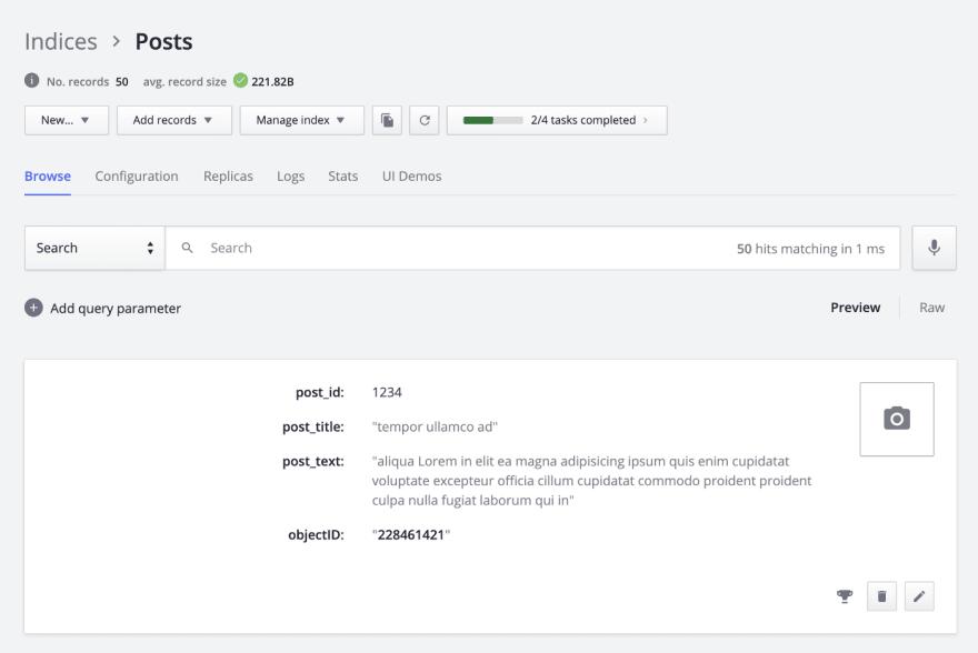 Index created on Algolia