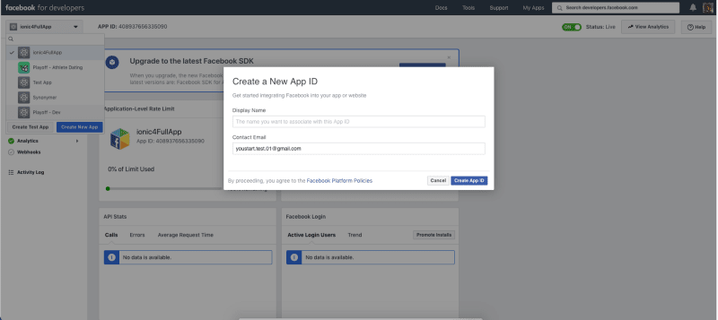 Create new app in Facebook Developer console