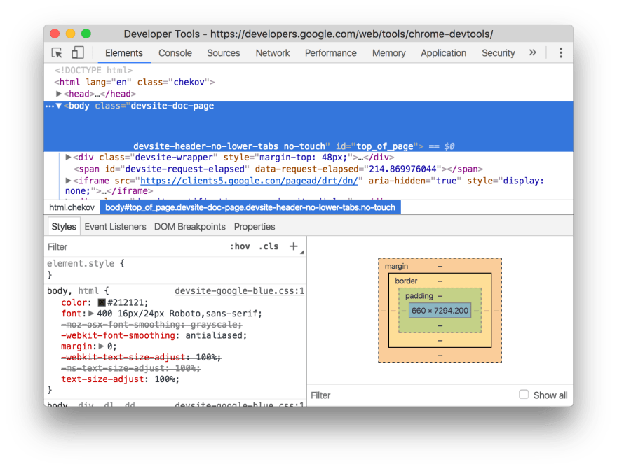 Developer Tools on Chrome