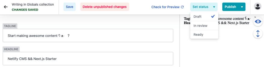Publishing copy changes