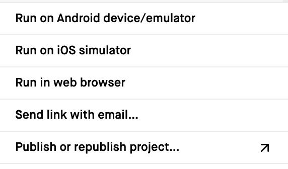 React Native menu options