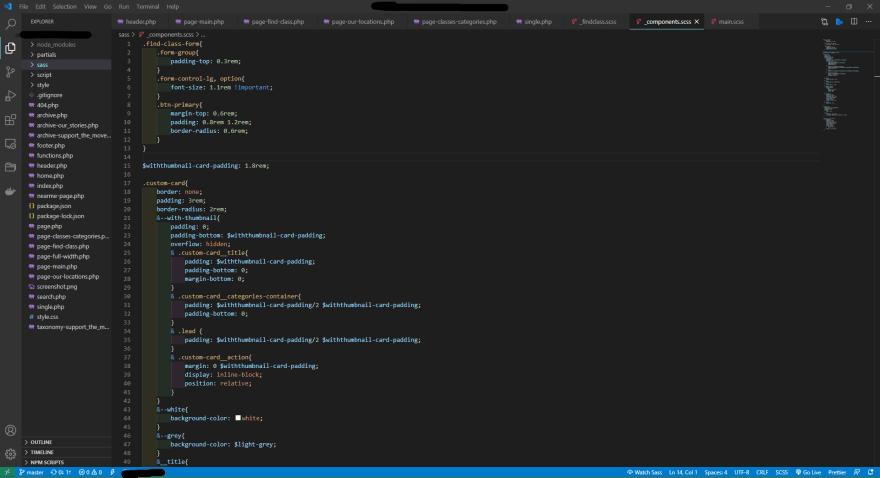 screenshot of vs code