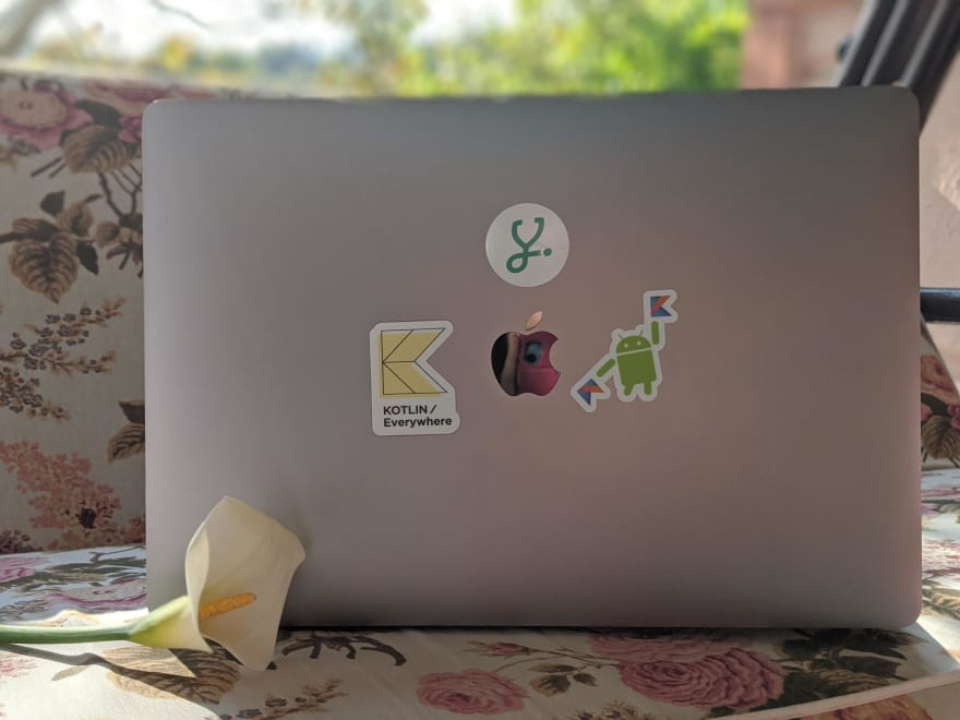 Kotlin stickers on a laptop