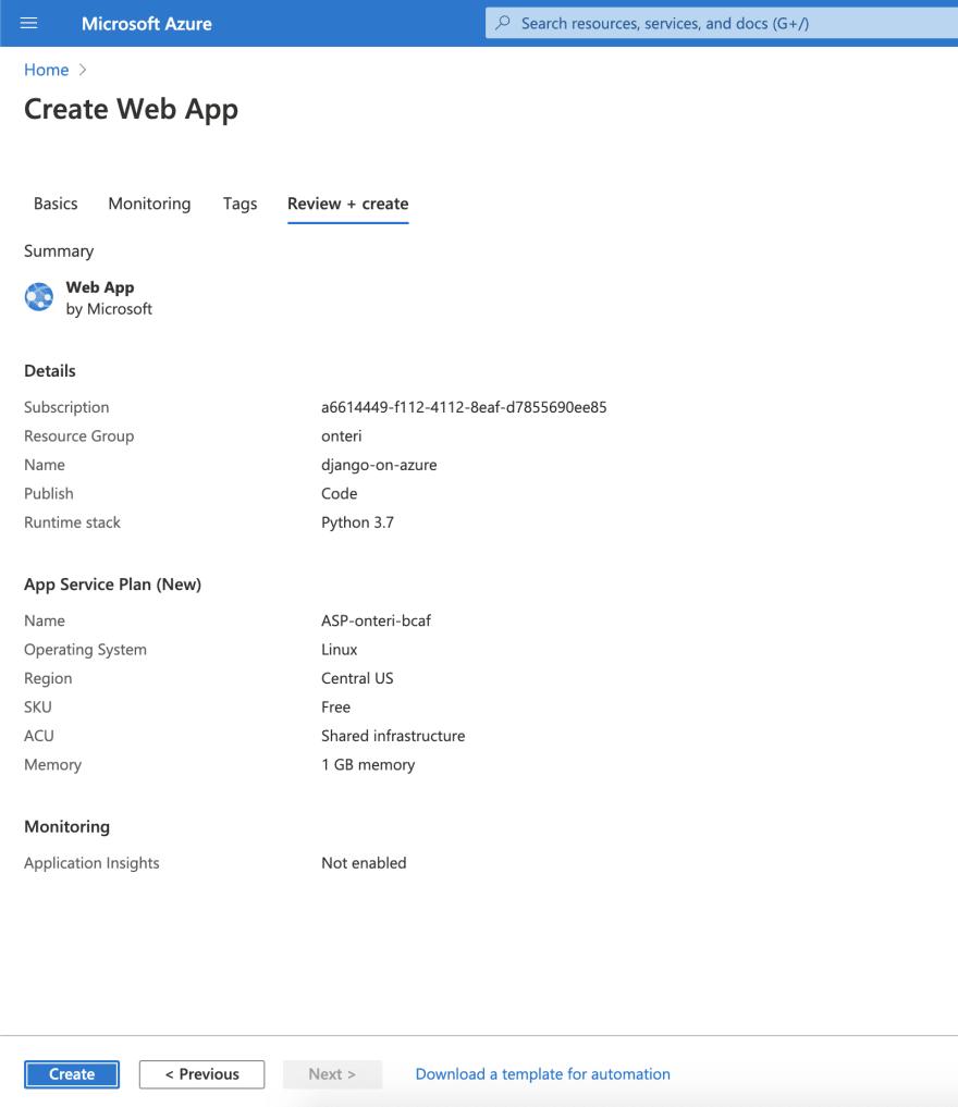 Azure App Service review & create