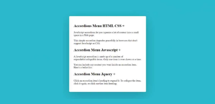 Add all the information in the Accordion Menu