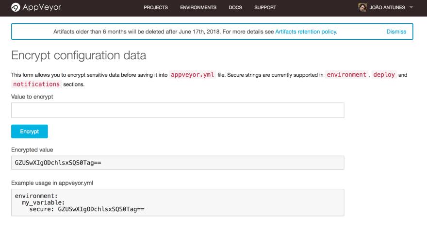 AppVeyor Encrypt Data
