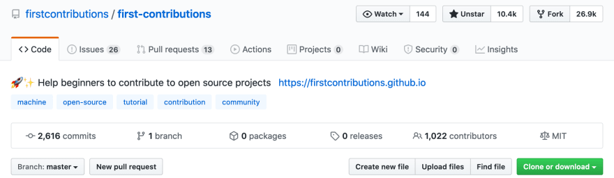Screenshot showing First Contributions repository