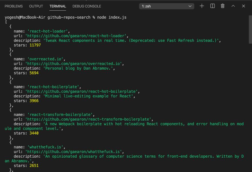 output of node index.js