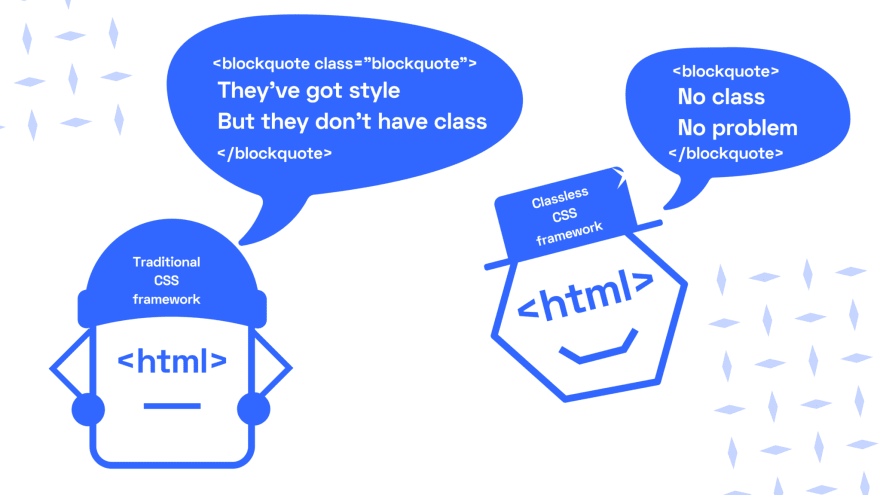 """Shows a little character with an html face and a classless framework hat saying """"no class no problem"""" surrounded by a regular blockquote. A disappointed html character with a traditional framework hat says """"they've got style but they don't have class"""" inside a blockquote with a blockquote class"""
